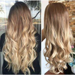 24 Inches Synthetic Ombre Clip in Half Head Wig